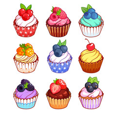 Set of cupcakes with different berries.