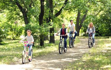 Happy family on bike ride in park