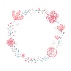 Floral wreath frame with copyspace. Hand drawn pastel pink flowers and branches.