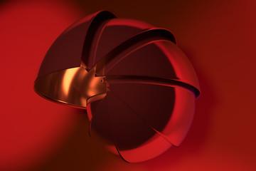 Abstraktes glänzendes Objekt auf rotem Hintergrund