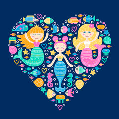 Sea heart. Vector hand drawn flat marine elements - mermaid, fish, sea-star, seahorse, crab, bubbles. Marine cartoon girls with doodle ornament. Isolated. Cute card - sea my love. On blue background.