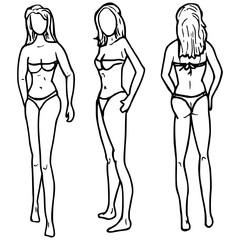 Vrouw voorkant zijkant en achterkant
