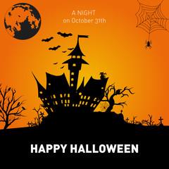 Happy Halloween Poster on orange background. .Vector illustration.