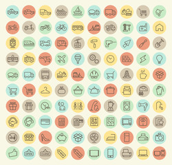 Set of 100 Isolated Universal Minimal Simple Thin Line Transport, Construction, Shopping and Home Appliances Icons on Circular Color Buttons.