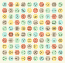 Set of 100 Isolated Universal Minimal Simple Thin Line Busines, SEO and Multimedia Icons on Circular Color Buttons.