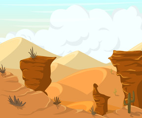 Desert landscape with cactuses and mountains. Vector illustration in cartoon style