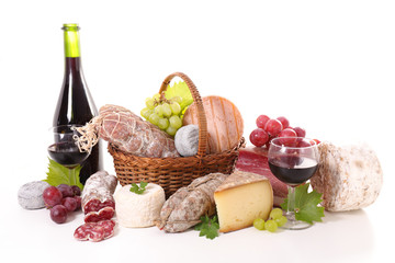 assorted of wine,cheese and meat