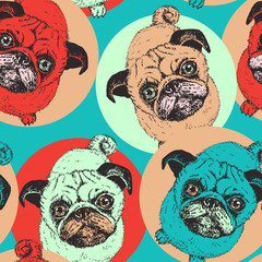 Pug dog - vector seamless patter. Background with cute puppies in sitting pose, bright colored design