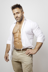 bearded man open shirt