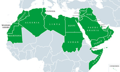 Arab World political map, also called Arab nation, consists of twenty-two arabic-speaking countries of the Arab League. All nations in green color, plus Western Sahara and Palestine. English labeling.