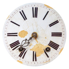 Ancient weathered clock face