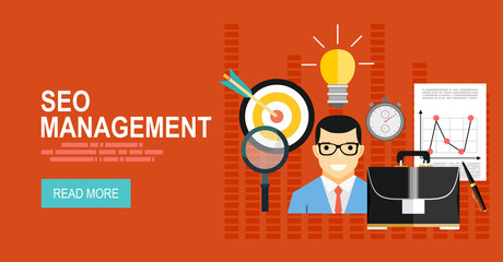 Flat design modern vector illustration concept of project management. For web banners, printed and promotional materials
