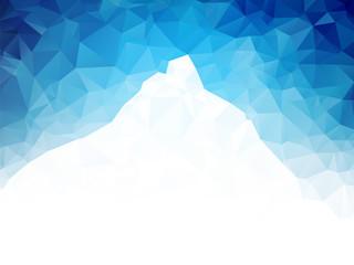 white mountain on blue geometric background