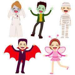 Cute lovely collection of little cheerful children disguised with different Halloween costumes