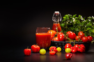 fresh juice, mix vegetable, carrot and tomato drinks with nature