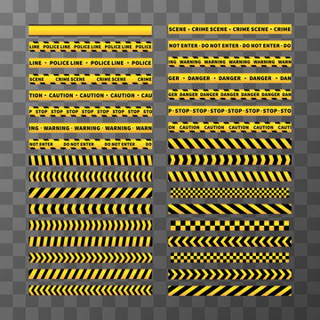 Set of different seamless yellow and black caution tapes on transparent background