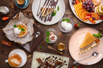 Wall Murals Dessert Different desserts with fruits