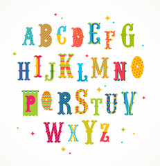 Cartoon multicolored alphabet - retro style ornate typeface. Vector illustration. Font set.