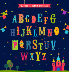 Little kingdom - Cartoon multicolored alphabet. Retro style ornate typeface. Vector illustration. Font set.