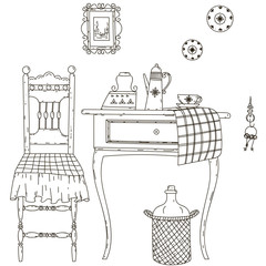 The old kitchen. Vector illustration