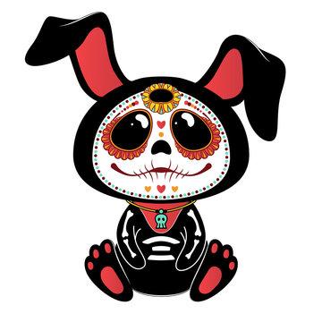 Day of the Dead (Dia de los Muertos) style bunny