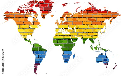 Map of World in colors of pride flag Illustration World map