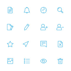 Various web blue line icons for the user