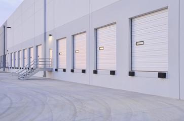 Closed doors of warehouse loading dock