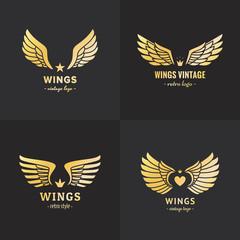 Gold wings logo vector set. Vintage hipster design. Part one.