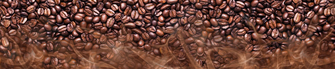 Coffee beans in a panoramic image