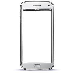 White Smart Phone Hand Drawn Vector Illustration.