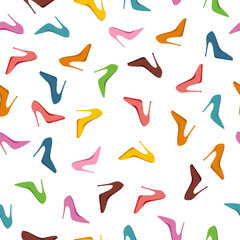Seamless Pattern High Heels Shoes. Fashion