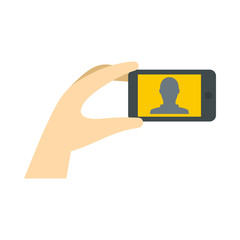 Man taking selfie photo on smartphone icon in flat style on a white background