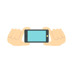 Hands holding a phone as for a selfie, blank screen icon in flat style on a white background