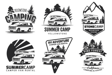 Set of monochrome camper van car logo, emblems and badges.