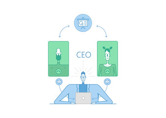 Vector line thin illustration and set of icons about CEO and his working.