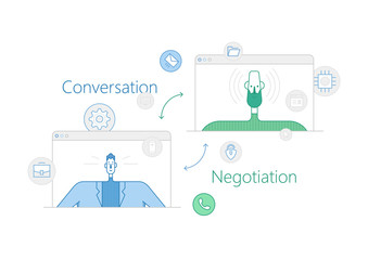 Vector line thin illustration and set of icons about negotiation, conversation and business meetings.