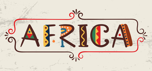 Africa-word in ethnic african style