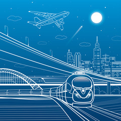Car overpass, train move, city infrastructure, urban plot, plane takes off, train move, transport illustration, vector design art