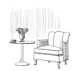 Furniture in summer cafe. Chair and table sketch