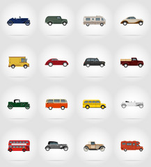 old retro transport flat icons vector illustration