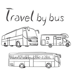 Hand drawn transport set. Bus and trailer