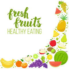 Corner frame of colorful fruits isolated on white background. Handwritten lettering, organic food. Vector stock illustration.