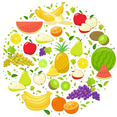 Set of colorful fruits in circle shape background. Template for packaging, cards, posters and eco food menu. Vector stock illustration.