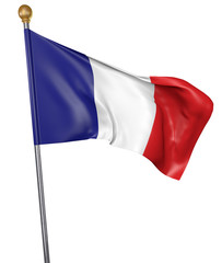 National flag for country of France isolated on white background, 3D rendering