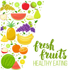 Side vertical border with colorful fruits. Template for packaging, cards, posters, menu. Handwritten lettering, organic food. Vector stock illustration.