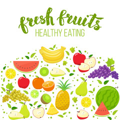 Colorful fruits isolated on white background. Handwritten lettering, organic food. Vector stock illustration.