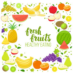 Round frame with colorful fruits. Template for packaging, cards, posters, menu. Handwritten lettering, organic food. Vector stock illustration.