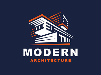 Logo emblem modern style house on dark background