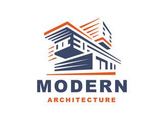 Logo emblem modern style house on white background